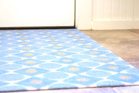 DIY Painted Rug on Tile Floor