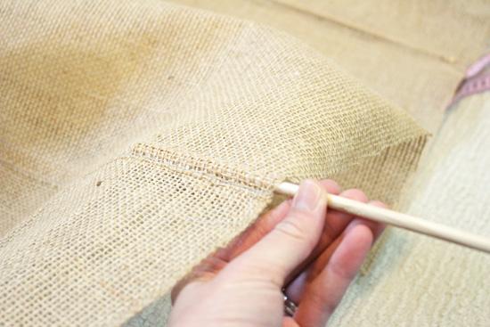 Feed Wooden Dowel Rod Into Roman Shade Pocket