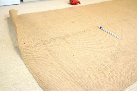 Pinning Table Runners Together to Create Dowel Rod Pockets