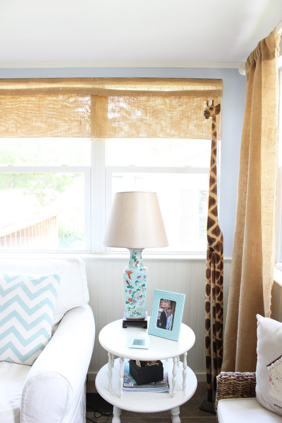 Roman Shades Made with Burlap Table Runners