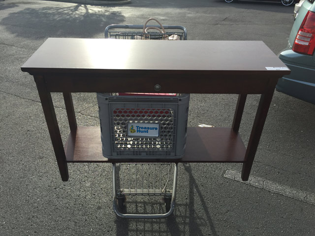 Sofa Table on Shopping Cart