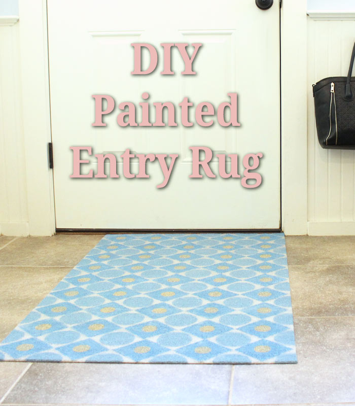 how to paint a blue entry rug with cool design print