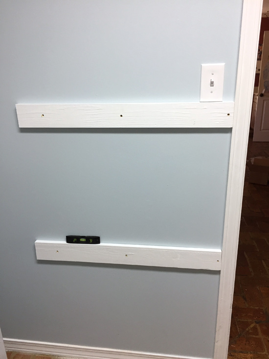 1x4s Hung on Wall for Backpack Rail
