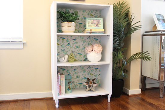 particle board cheap bookcase updated with molding spray paint and furniture feet