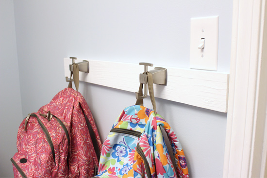DIY Hook and Rail Drop Zone System for School Backpacks