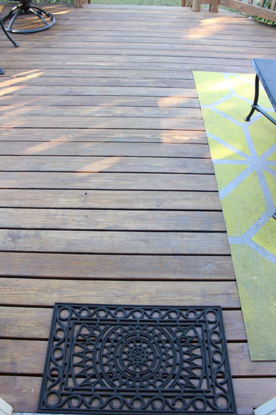 Deck with Rugs After Stain Touch Up