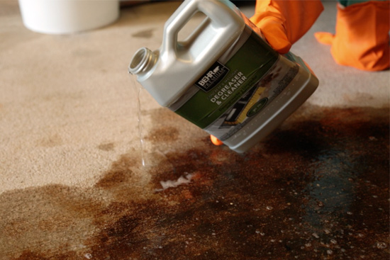 How to paint a garage floor checking in with chelsea for Concrete cleaner oil remover