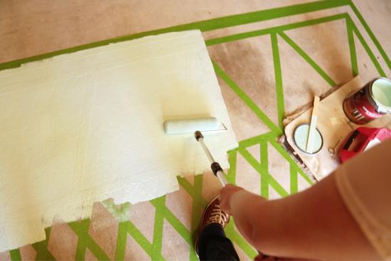 Rolling Paint on Garage Floor Rug