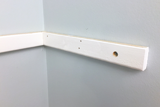 Shelf Cleat Installed with Toggle Bolt and Nails in Studs