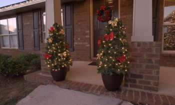 Completed DIY Christmas Porch Decor-Topiary