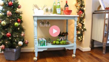 Holiday Bar Cart Upcycle Completed