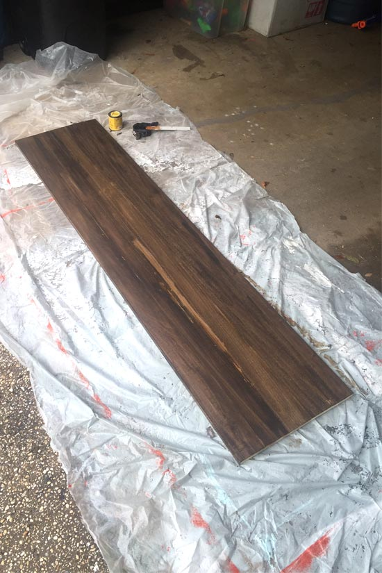 Staining 1x12 for Ledge Above Washer espresso minwax