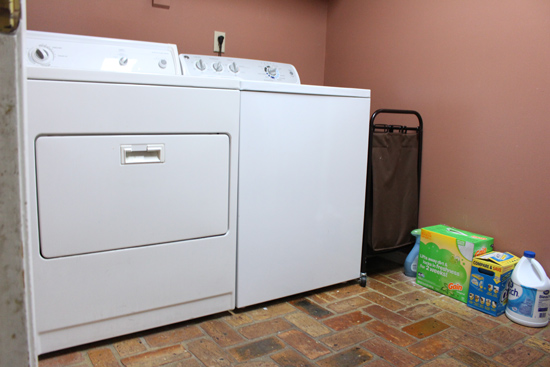 Washer and Dryer in Laundry Room Before Painting