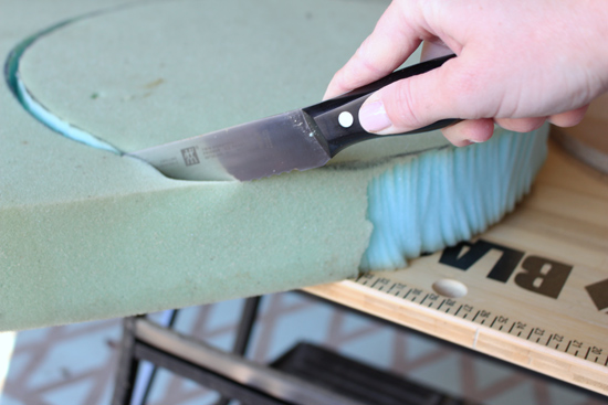 Cutting Foam Along Line with Serrated Bread Knife