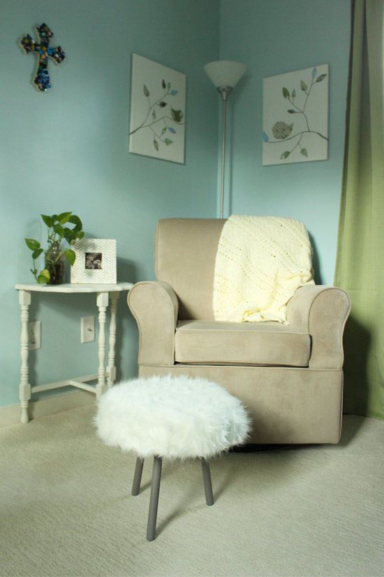 Furry Footstool in Nursery on White Carpet