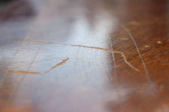 Gouge in Stain on Top of Wood Coffee Table