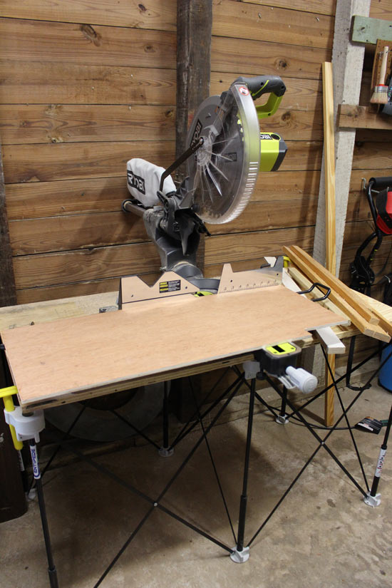 RYOBI Sliding Miter Saw Cutting 3/8 Inch Plywood