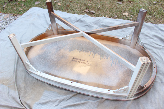 Spray Painting Coffee Table Upside Down