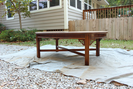 Stained Wood Coffee Table Prior To Painting