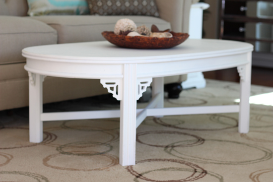 White Coffee Table in Formal Living Room