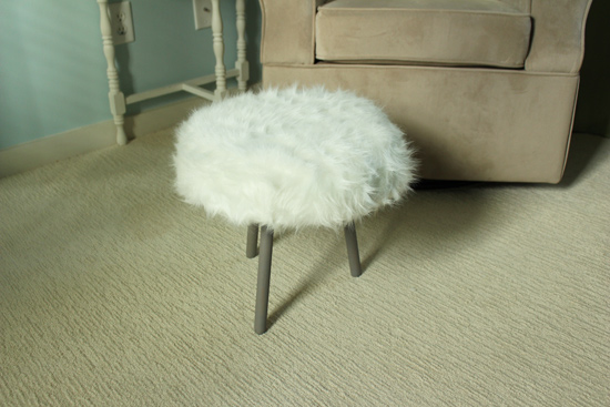 White Fur Footstool Made from End Table