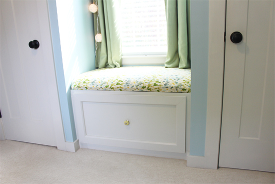 Completed Window Seat in Baby Boy Nursery