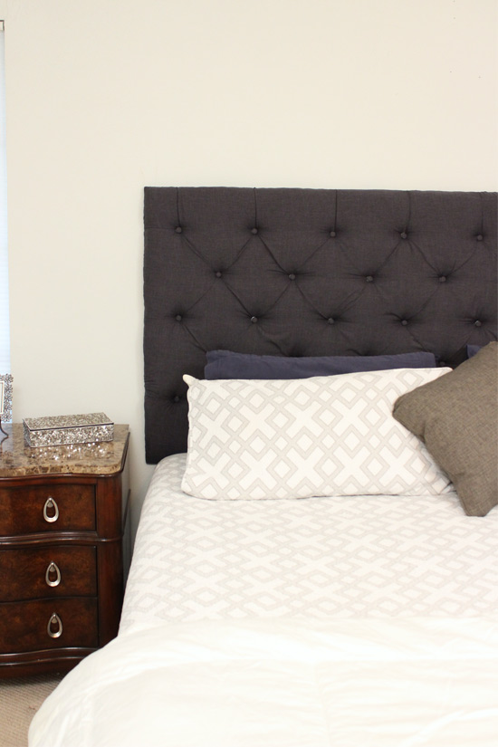 Marvelous Denim Tufted Headboard Hanging on Wall