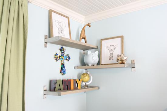 Shelves Installed in Baby Boy Blue Room