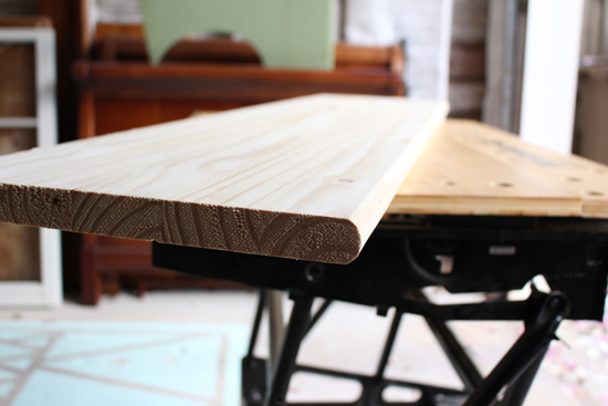 Unfinished Pine Stair Tread on Workbench