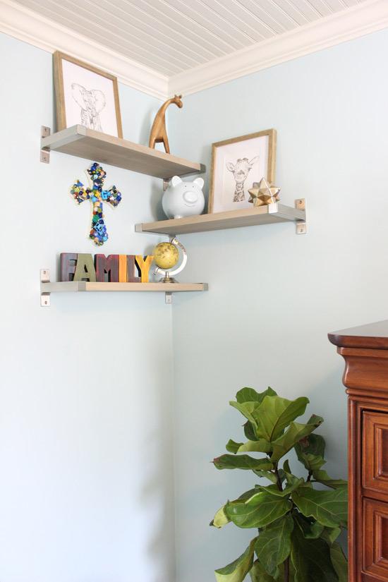Wood Shelves Metal Brackets in Blue Bedroom