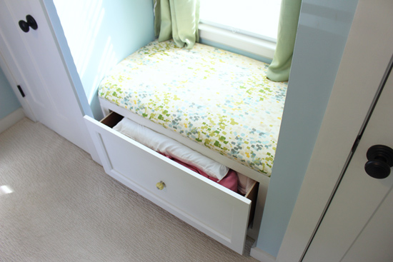 Pillows and Blankets in Window Seat Drawer