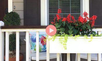 DIY White Porch Rail Planter Box