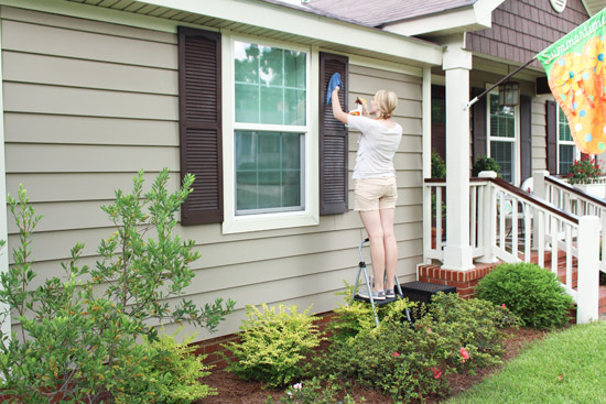 Chelsea Wiping Vinyl Shutters with ArmorAll Spray