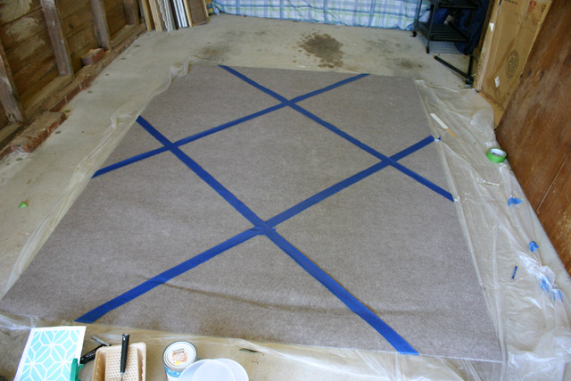 First Grid on Rug with Painter's Tape