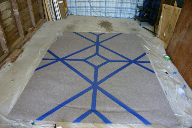 Middle Diamond Pattern Taped On Area Rug