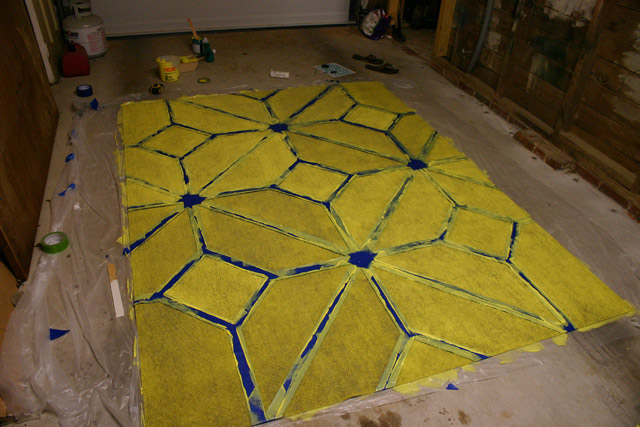 Rug Painting Complete Before Removing Tape