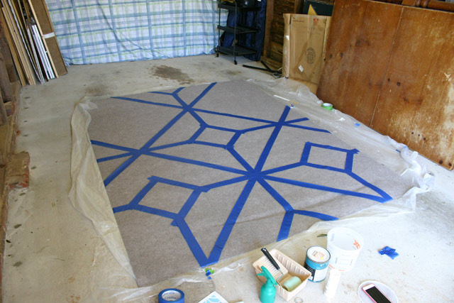 Working My Way Around the Rug with Painter's Tape