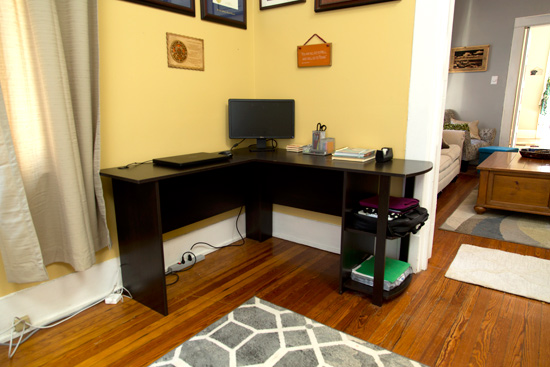 IKEA Wood Tone Desk Before Update