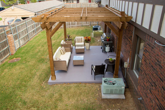 Aerial View of Finished Patio Pergola