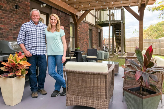 Danny Lipford and Chelsea Wolf with New Patio Furniture and Pergola