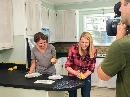 Chelsea and Nicole Sponge Painting Kitchen Countertops