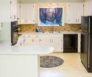 Completed Budget Kitchen Facelift with White Cabinets