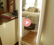 DIY Leaning Light Mirror