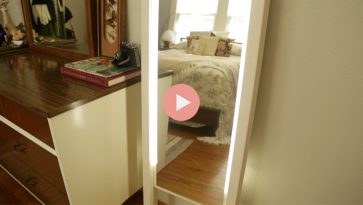 DIY Leaning Light Mirror