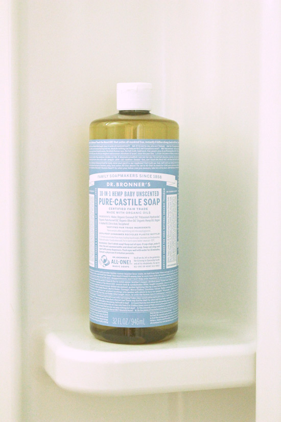 Dr Bronner's Baby Unscented Liquid Soap in Shower
