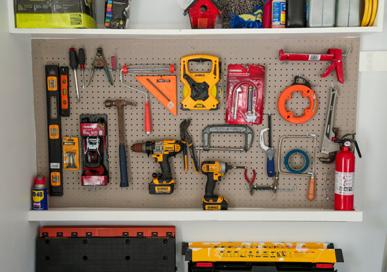 Pegboard Used in Garage for Tool Zone