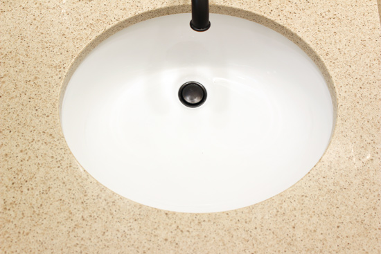White Undermount Bathroom Sink with Small Chips
