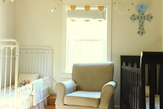 Small Shared Toddler Room with Two Cribs