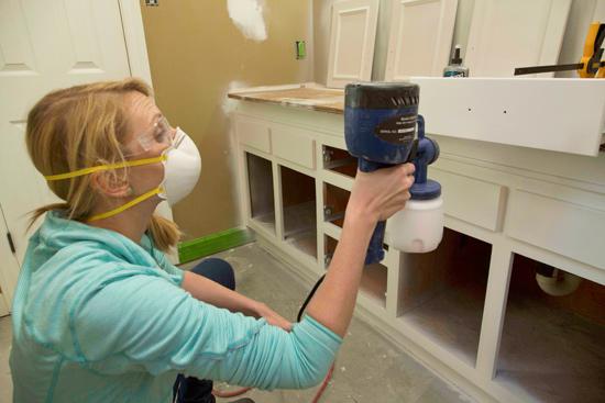Chelsea Painting Bathroom Vanity with HomeRight Sprayer