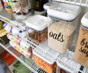 Pantry Labels on Clear Containers on Shelf